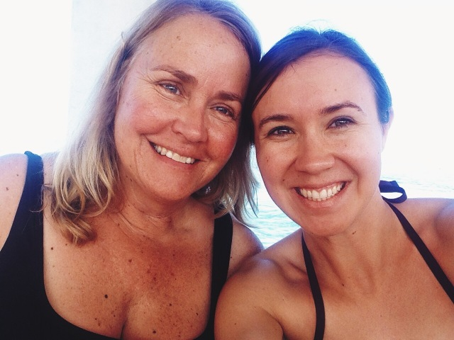 My mom and I about to Snorkel | Scones in the Sky