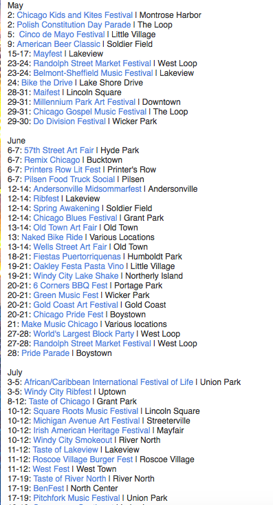 Chicago Festival Schedule